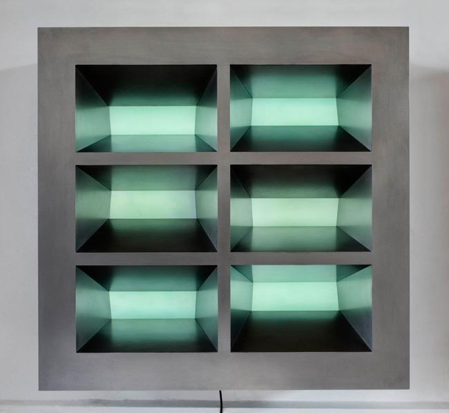 Six Lit Green Rectangles 2006 590 x 575 x 190mm