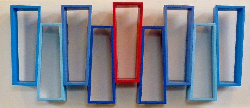Four Blues 0ne Red 2020 85 X 37 X 9cm